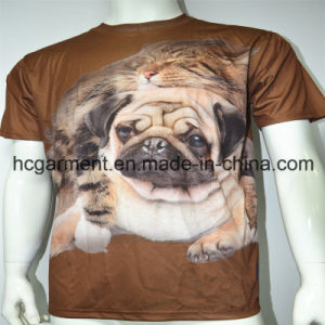 3D Sublimation Printed Round Neck Polyester T- Shirt for Man pictures & photos