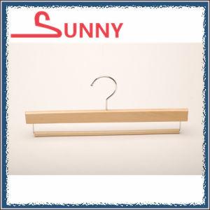 Wooden Bottom Hanger with Non-Slip Bar for Pants/Trousers