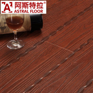 Embossed Surface Style with Red Color Laminate Flooring pictures & photos