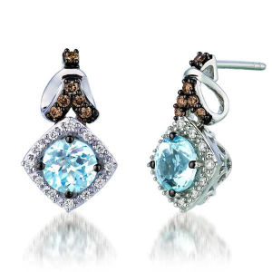 Hot Sales 925 Silver Dangle Earrings with Aquamarine Jewelry pictures & photos