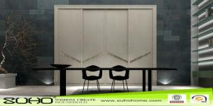 New Design Aluminum Frame Wrapped PVC Door for Wardrobe