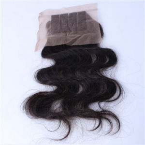 Lace Closure Bleached Knots Straight Virgin Brazilian Hair Weaves Closure 4*4 Inches Brazilian Lace Closure pictures & photos