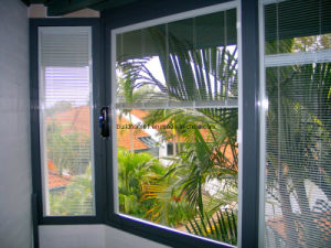 Insulated Double Glass Aluminium Windows with Integrated Blinds pictures & photos