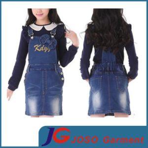 Girls Kids Pocket Jeans Suspender Skirt Wear (JC5193) pictures & photos