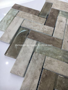 Yellow Ink Jet Printing Herringbone Glass Mosaic Tile pictures & photos