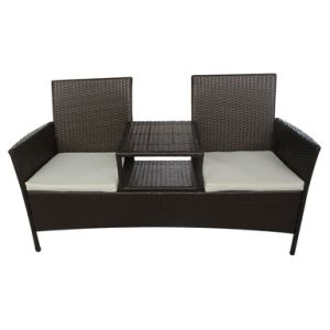 Well Furnir T-008 Patio Brown Poly Rattan Two-Seater Bench with Tea Table pictures & photos