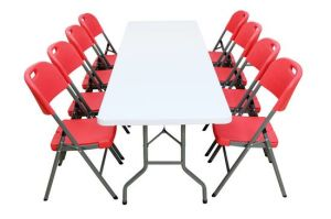 8 Foot Trestle Plastic Table and Chair Set (SY-240C) pictures & photos