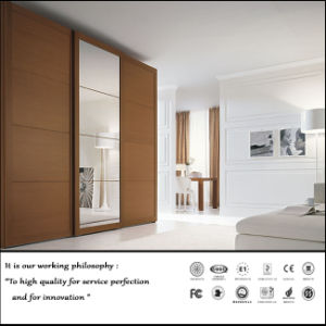 Wooden Colour Melamine Sliding Door Wardrobe (FY5687) pictures & photos