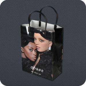 Plastic Luxury Carrier Shopping Bag with Clip Handle pictures & photos
