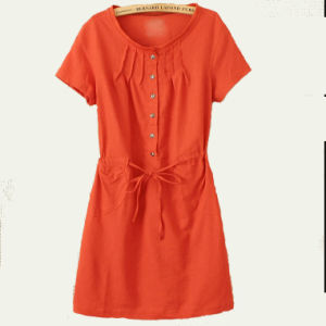 Short Sleeve Ladies Fashion Dress (LD-048)