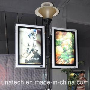Media Two Side Lamp Pole Post Column Backlit Banner Baclit Film PVC Flex LED Lightbox Ad Billboard pictures & photos