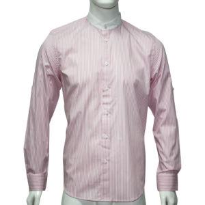 Man′s Stripe Poplin Shirts with Small Collar HD0034