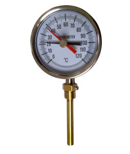 Two Pointer Ss Bimetal Thermometer with Brass Pocket (B-0088)