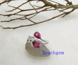 Jewelry-Pink Topaz Sterling Silver Ring (R0277)