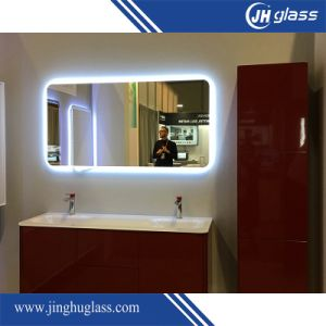 Hotel Project Frosted LED Bathroom Mirror with Digital Clock pictures & photos
