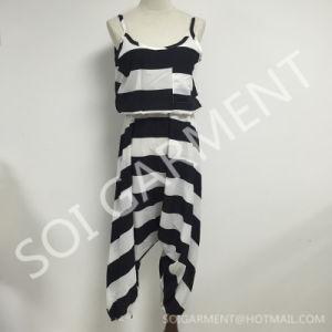 Summer Chiffon Stripe Loose Top Jumpsuit for Women (JU-12)