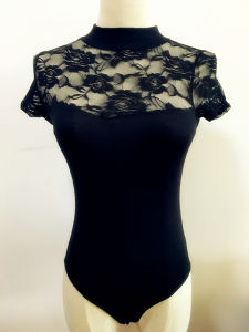 Women Fashion Clothing Sexy Nylon Rose Lace Bodysuit pictures & photos