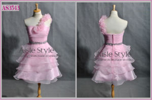 One Shoulder Organza Short Party Dress (AS3543)