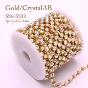 Crystal Ab Rhinestone Cup Chain Ss6-Ss38 Gold Sparse Claw Chain for Garment Adornment (TSG-ss6-ss38) pictures & photos
