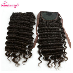 8A Grade Brazilian Human Hair Extension Deep Wave Drawstring Ponytail pictures & photos