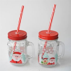 Snowflake Christmas Promotional Gift Glass Drinking Mug with Red Lid pictures & photos