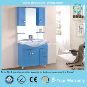 Blue Painted 4mm Silver Mirror Bathroom Vanity Cabinet (BLS-16025E) pictures & photos