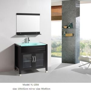 Kitchen Furniture with Glass Basin Wooden Vanity pictures & photos
