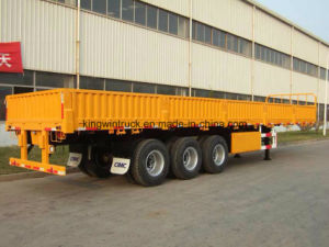 China Three-Axle Dropside Flatbed Semi Trailer