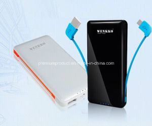 Patented 2in1 6000mAh Portable Mobile Power Bank with Built-in USB Cable