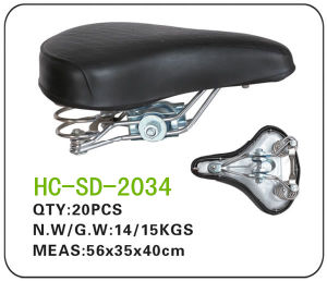 Dark Color Leather Lady Bicycle Saddle (SD-2034) pictures & photos
