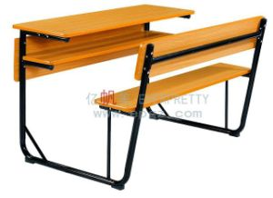 Modern Wooden School Furntiure School Desk and Chair Bench Sf-08d pictures & photos