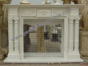 Stone Marble Fireplace for Indoor Fireplace Mantel (QY-LS391) pictures & photos