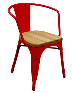 Industrial Tolix Restaurant Wooden Seat Metal Arm Chair pictures & photos
