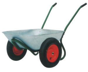 Double Wheel Hand Trolley Zinc Barrow Wb6407 pictures & photos