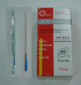 Huanqiu Brand Disposal Acupuncture Needles with Tube - All Steel Handle pictures & photos
