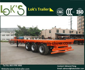 40 Feet 3 Axles Single Tyre Flatbed Semi Trailer pictures & photos