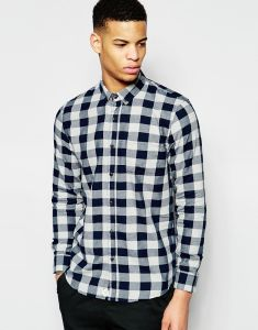 Men Light Weight Navy Checker Button Long Shirt pictures & photos