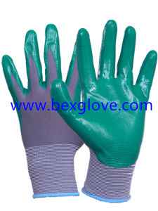 13 Gauge Nylon Nitrile Glove, Finger Screen Touch pictures & photos