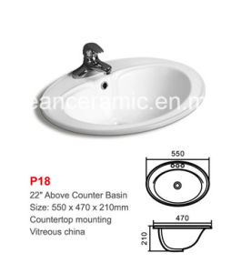 Ceramic Above Counter Basin (No. P18) , Wash Basin, Lavabo pictures & photos