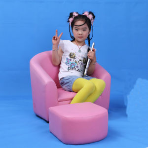 Fashionable Light Pink Kids Sofa with Foot Stool (SF-12) pictures & photos
