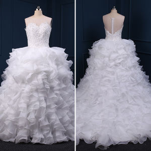 Beads Ruffles Lace Ball Gown Wedding Dresses (TM-BG012)