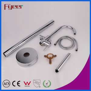 Fyeer Brass Floor Standing Bathtub Faucet Bath Shower Set pictures & photos