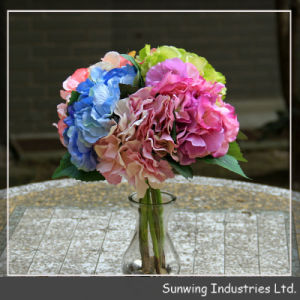 Green Artificial Flower Toothed Middle Branch Hydrangea pictures & photos
