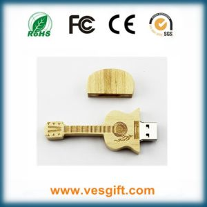 Hot Selling Present USB Flash Disk Wooden Guitar Design pictures & photos
