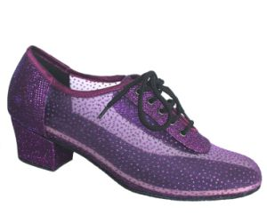 Ladies Purple Mesh Upper Cha-Cha/Latin Dance Practice Shoes pictures & photos