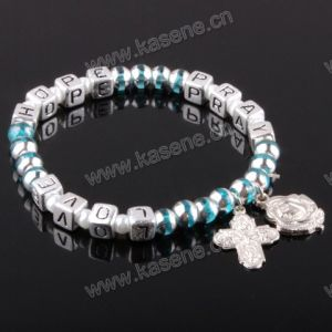 Letter Beads Religious Bracelet on Elastic with Medal pictures & photos