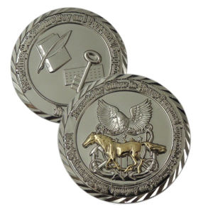 Customized Silver Plating Diamond Edge Coins with Two Tons (XDBG-294) pictures & photos