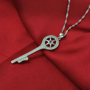 Good Quality 925 Sterling Silver Key Pendant Zircon Necklace pictures & photos