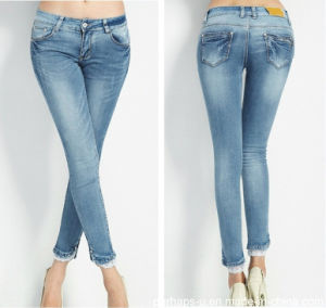 Elegant New Fashion Ladies Refreshing Long Lace Hem Denim Jeans pictures & photos