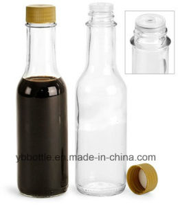 Glass Bottles, Small Clear Hot Sauce Glass Bottle with White Plastic Cap pictures & photos